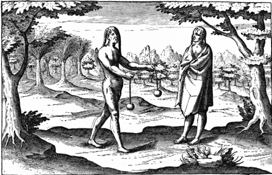 Indėnai iš Rio de la Platos. Iš Hendrick Ottsen kelionių aprašymų 1603 m.